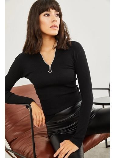 Sortee Kadın Fermuarlı Kaşkorse Bluz Siyah